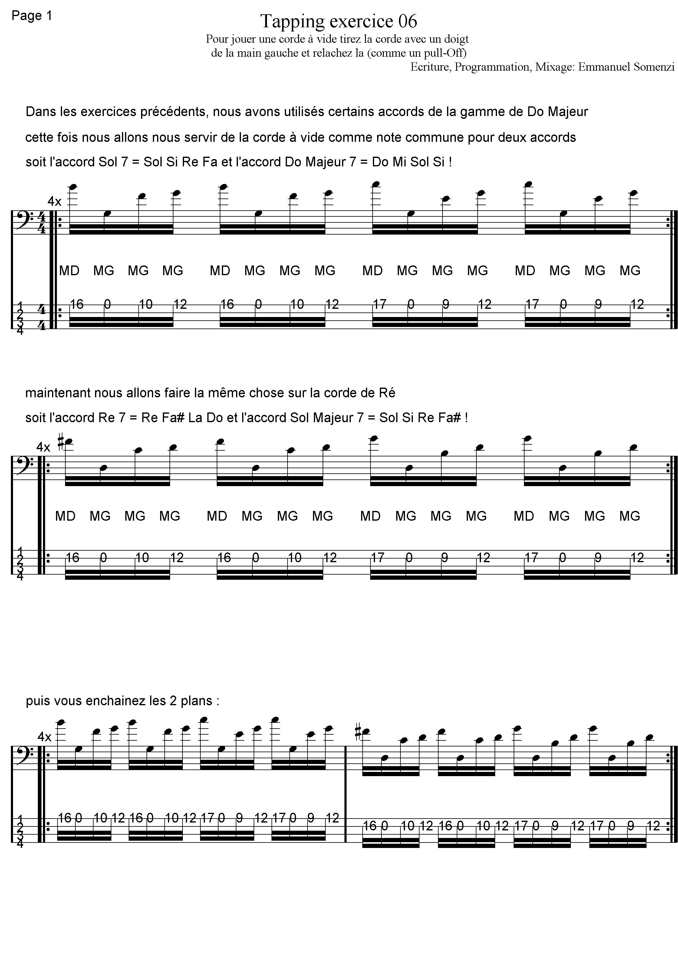 exercice 6 cours de basse tapping