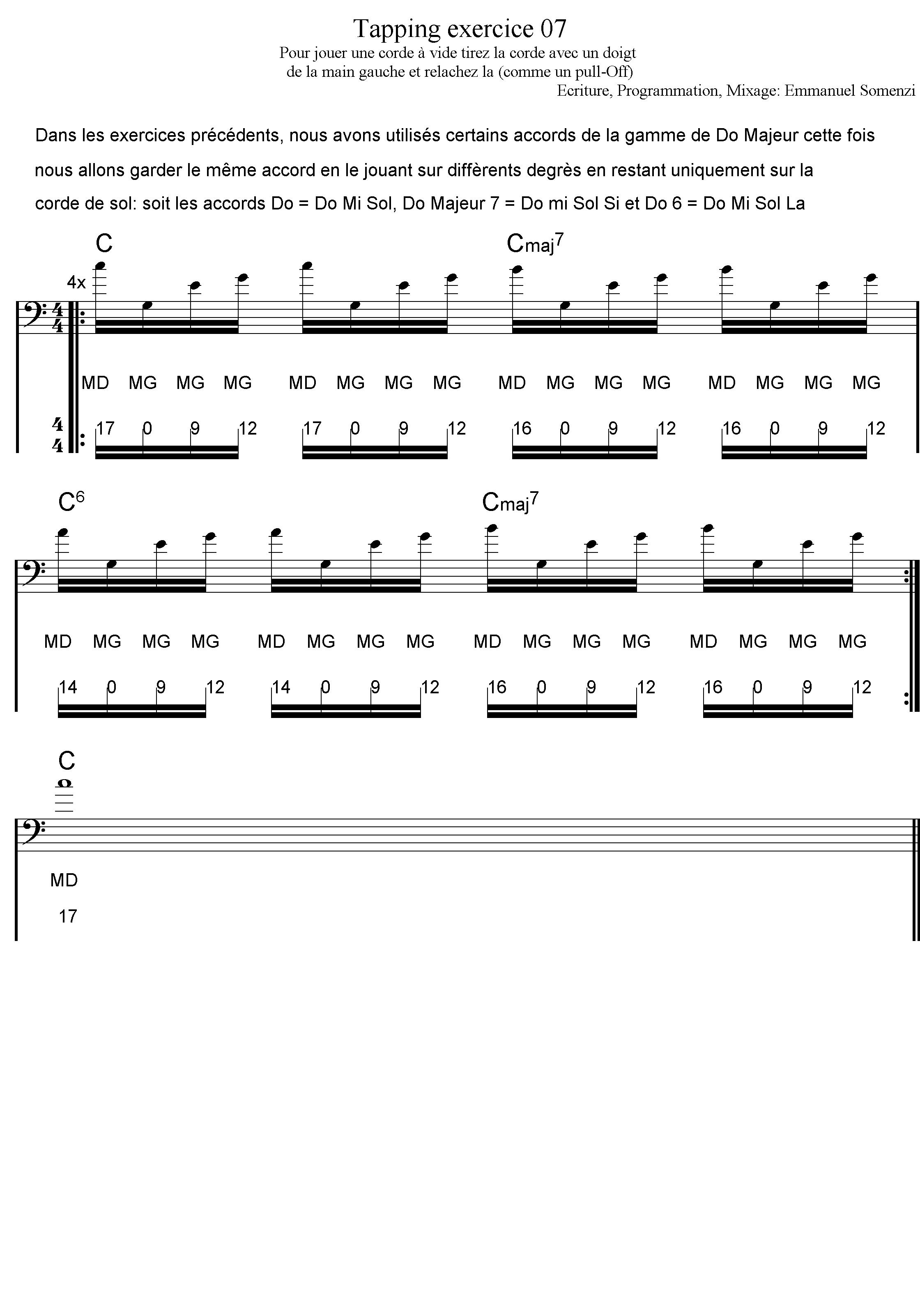 exercice 7 cours de basse tapping